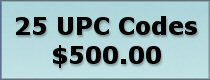 Click to buy 25 UPC bar codes